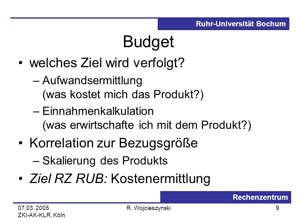 Ruhr-Universität Bochum Rechenzentrum 07.03. 2005 ZKI-AK-KLR, Köln R. Wojcieszynski9 Budget welches Ziel wird verfolgt? –Aufwandsermittlung (was koste