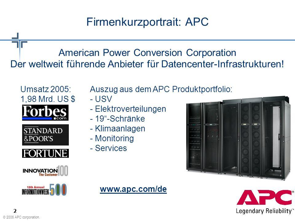 © 2006 APC corporation. 2 Umsatz 2005: 1,98 Mrd. US $ Firmenkurzportrait: APC American Power Conversion Corporation Der weltweit führende Anbieter für