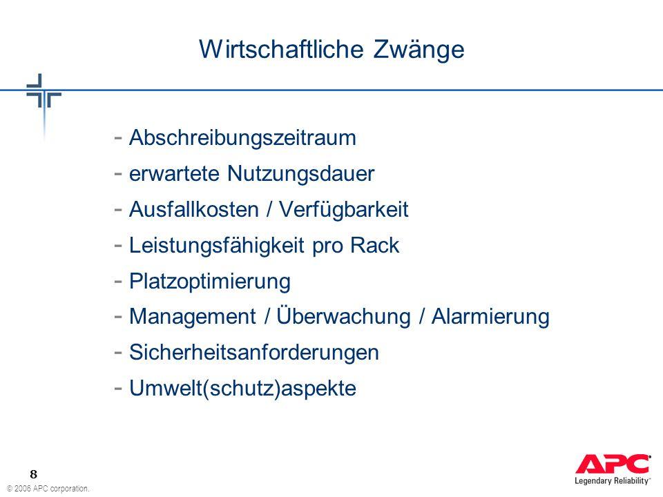 © 2006 APC corporation. 8 - Abschreibungszeitraum - erwartete Nutzungsdauer - Ausfallkosten / Verfügbarkeit - Leistungsfähigkeit pro Rack - Platzoptim