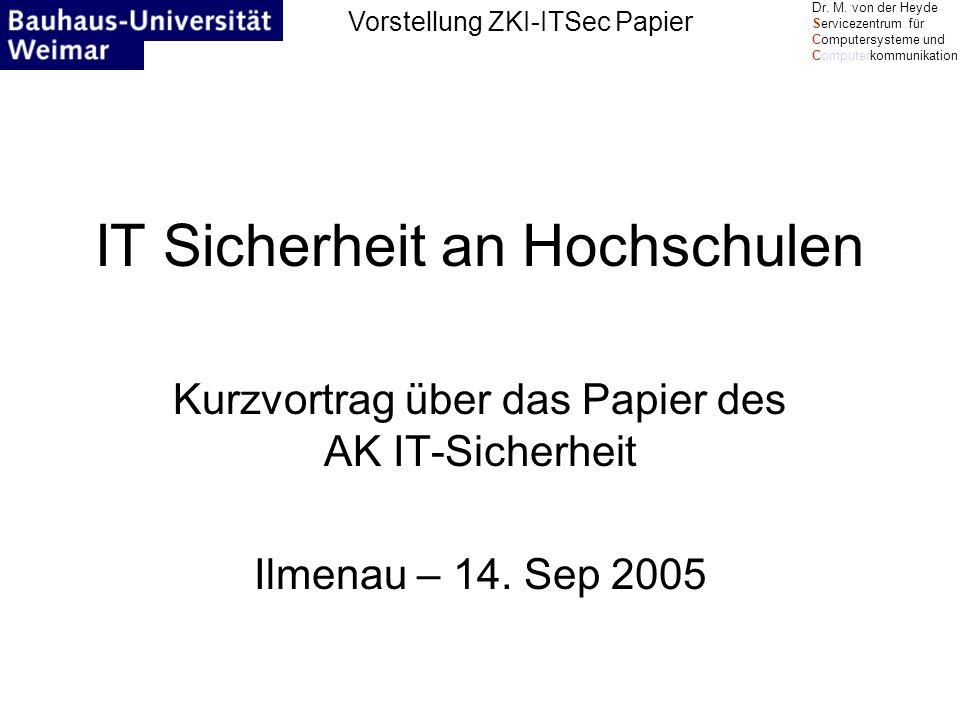 Vorstellung ZKI-ITSec Papier Dr.M.