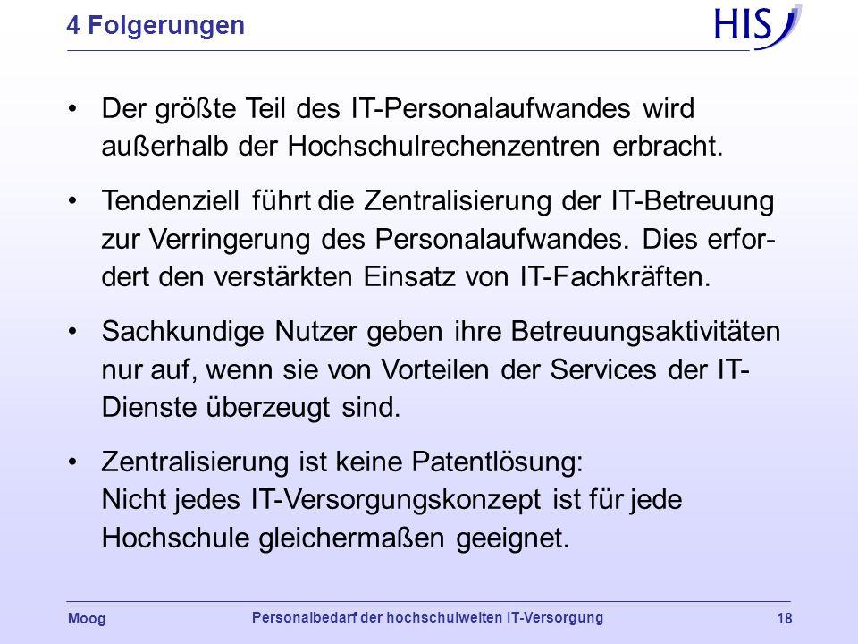 Moog Personalbedarf der hochschulweiten IT-Versorgung 17 3 Beispielrechnung: Versorgungsalternativen