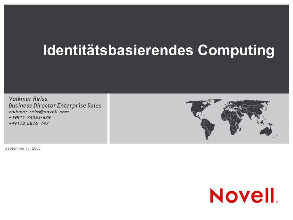 © Novell Inc, Confidential & Proprietary 2 Vision & Strategie: Identitätsbasierendes Computing Entwicklung & Schwerpunkte Suse Linux: From Community to Enterprise Identitätsbasierendes Linux-Management AGENDA