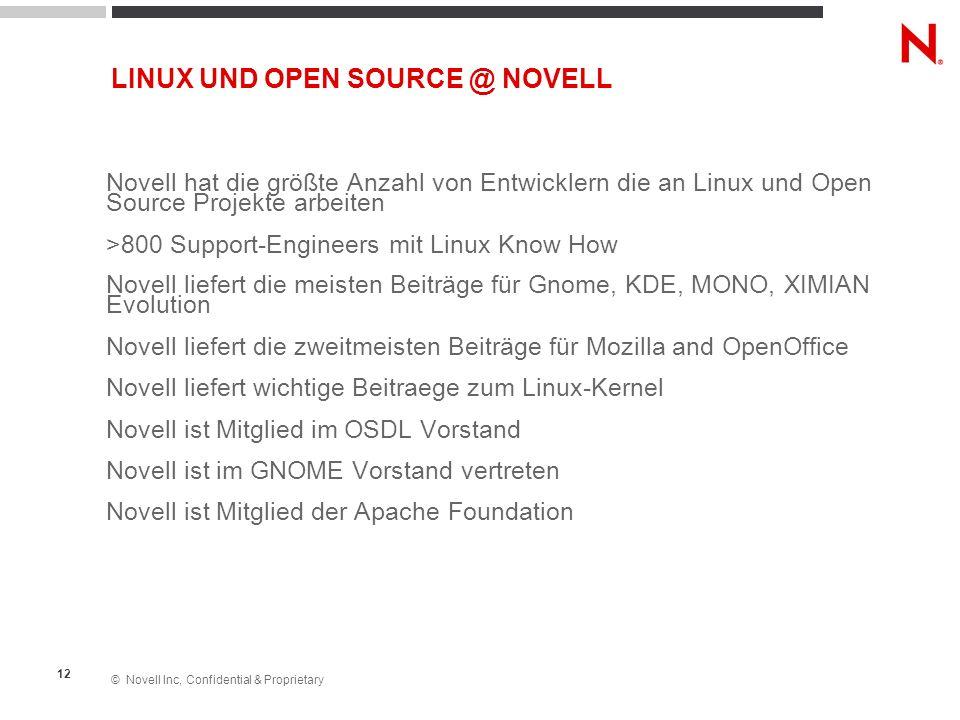 © Novell Inc, Confidential & Proprietary 12 Novell hat die größte Anzahl von Entwicklern die an Linux und Open Source Projekte arbeiten >800 Support-E