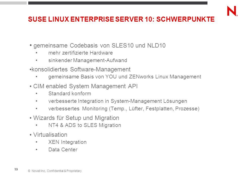 © Novell Inc, Confidential & Proprietary 19 SUSE LINUX ENTERPRISE SERVER 10: SCHWERPUNKTE gemeinsame Codebasis von SLES10 und NLD10 mehr zertifizierte