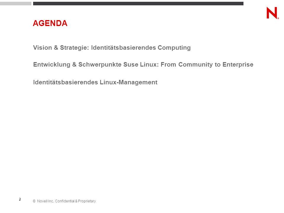 © Novell Inc, Confidential & Proprietary 3 Vision & Strategie: Identitätsbasierendes Computing Entwicklung & Schwerpunkte Suse Linux: From Community to Enterprise Identitätsbasierendes Linux-Management AGENDA