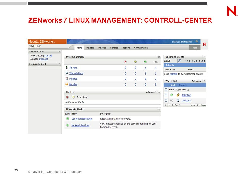 © Novell Inc, Confidential & Proprietary 33 ZENworks 7 LINUX MANAGEMENT: CONTROLL-CENTER