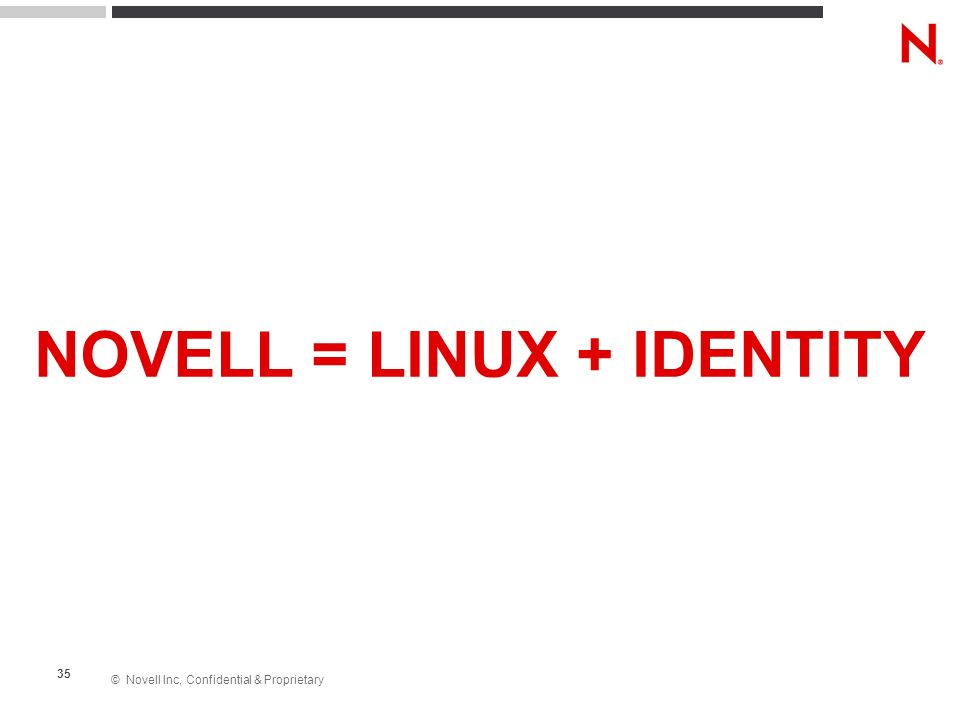 © Novell Inc, Confidential & Proprietary 35 NOVELL = LINUX + IDENTITY