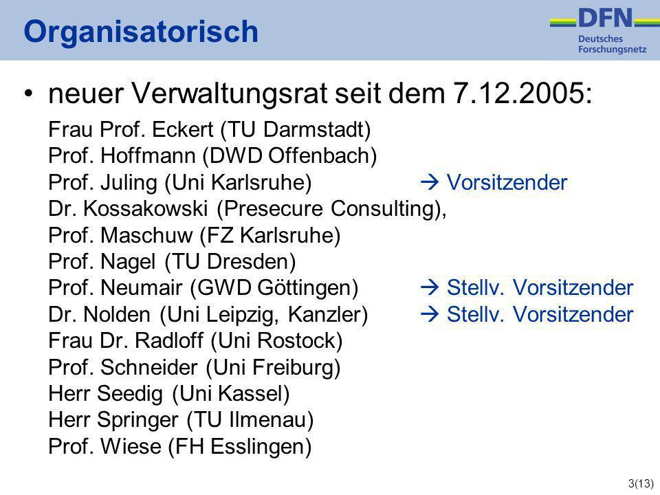 3(13) Organisatorisch neuer Verwaltungsrat seit dem 7.12.2005: Frau Prof.