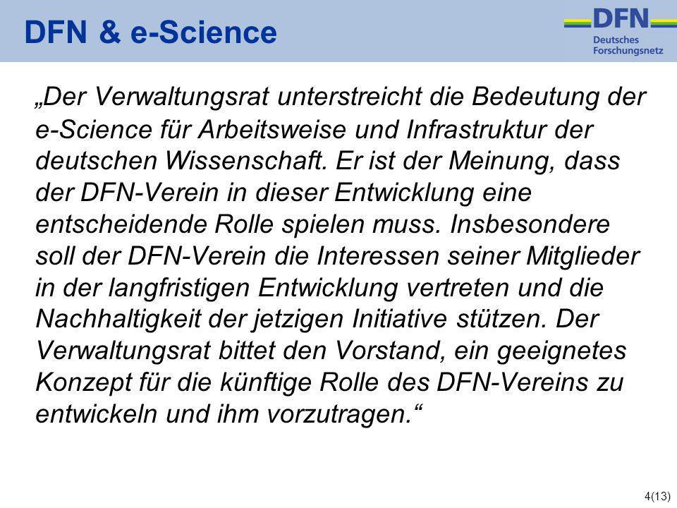4(13) DFN & e-Science Der Verwaltungsrat unterstreicht die Bedeutung der e-Science für Arbeitsweise und Infrastruktur der deutschen Wissenschaft.