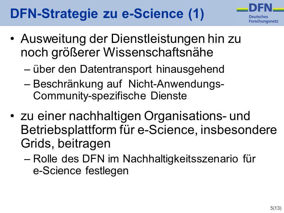 5(13) DFN-Strategie zu e-Science (1) Ausweitung der Dienstleistungen hin zu noch größerer Wissenschaftsnähe –über den Datentransport hinausgehend –Beschränkung auf Nicht-Anwendungs- Community-spezifische Dienste zu einer nachhaltigen Organisations- und Betriebsplattform für e-Science, insbesondere Grids, beitragen –Rolle des DFN im Nachhaltigkeitsszenario für e-Science festlegen