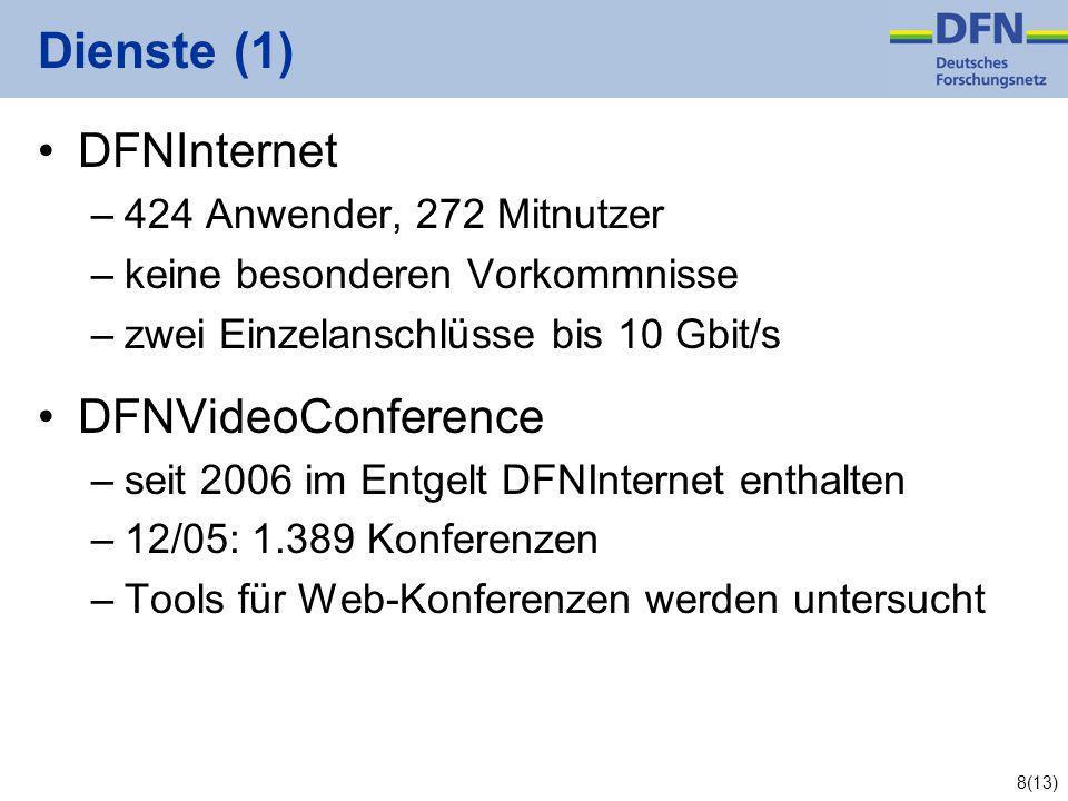 8(13) Dienste (1) DFNInternet –424 Anwender, 272 Mitnutzer –keine besonderen Vorkommnisse –zwei Einzelanschlüsse bis 10 Gbit/s DFNVideoConference –seit 2006 im Entgelt DFNInternet enthalten –12/05: 1.389 Konferenzen –Tools für Web-Konferenzen werden untersucht