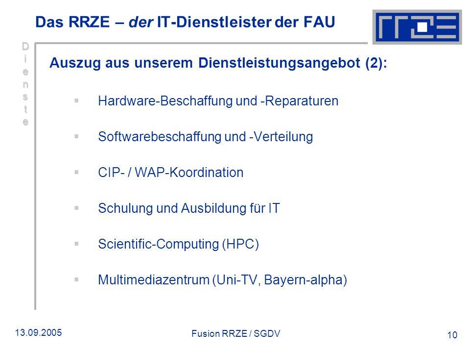 13.09.2005 Fusion RRZE / SGDV 10 DiensteDiensteDiensteDienste Das RRZE – der IT-Dienstleister der FAU Auszug aus unserem Dienstleistungsangebot (2): H