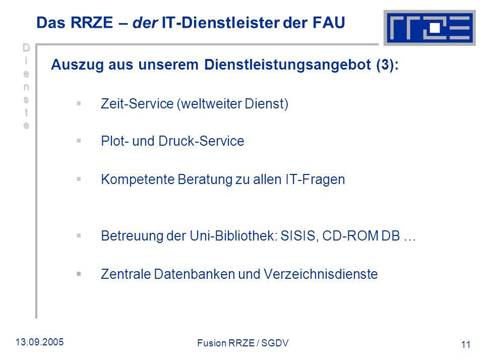 13.09.2005 Fusion RRZE / SGDV 11 DiensteDiensteDiensteDienste Auszug aus unserem Dienstleistungsangebot (3): Zeit-Service (weltweiter Dienst) Plot- un