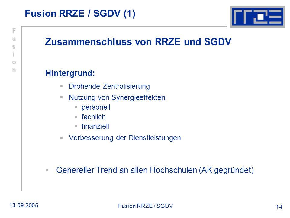 13.09.2005 Fusion RRZE / SGDV 14 Fusion RRZE / SGDV (1) Zusammenschluss von RRZE und SGDV Hintergrund: Drohende Zentralisierung Nutzung von Synergieef