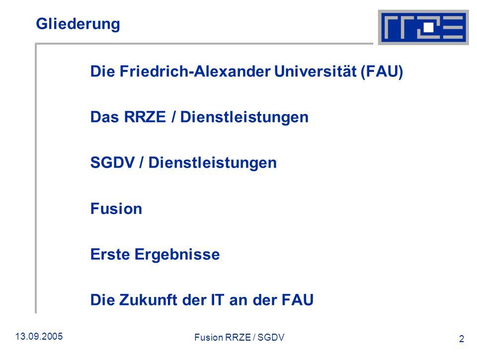 13.09.2005 Fusion RRZE / SGDV 2 Gliederung Die Friedrich-Alexander Universität (FAU) Das RRZE / Dienstleistungen SGDV / Dienstleistungen Fusion Erste