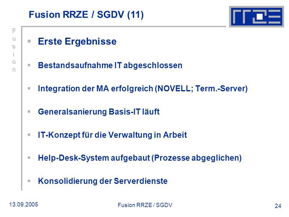13.09.2005 Fusion RRZE / SGDV 24 Erste Ergebnisse Bestandsaufnahme IT abgeschlossen Integration der MA erfolgreich (NOVELL; Term.-Server) Generalsanie