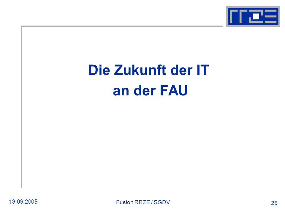 13.09.2005 Fusion RRZE / SGDV 25 Die Zukunft der IT an der FAU