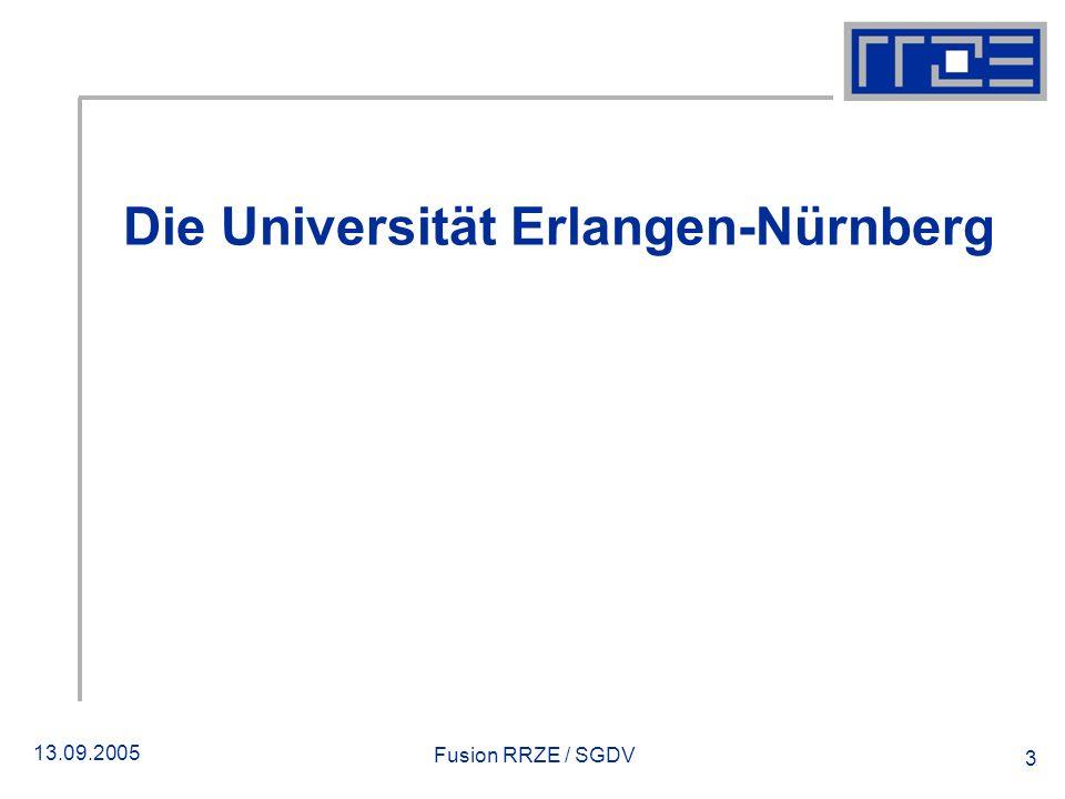 13.09.2005 Fusion RRZE / SGDV 3 Die Universität Erlangen-Nürnberg