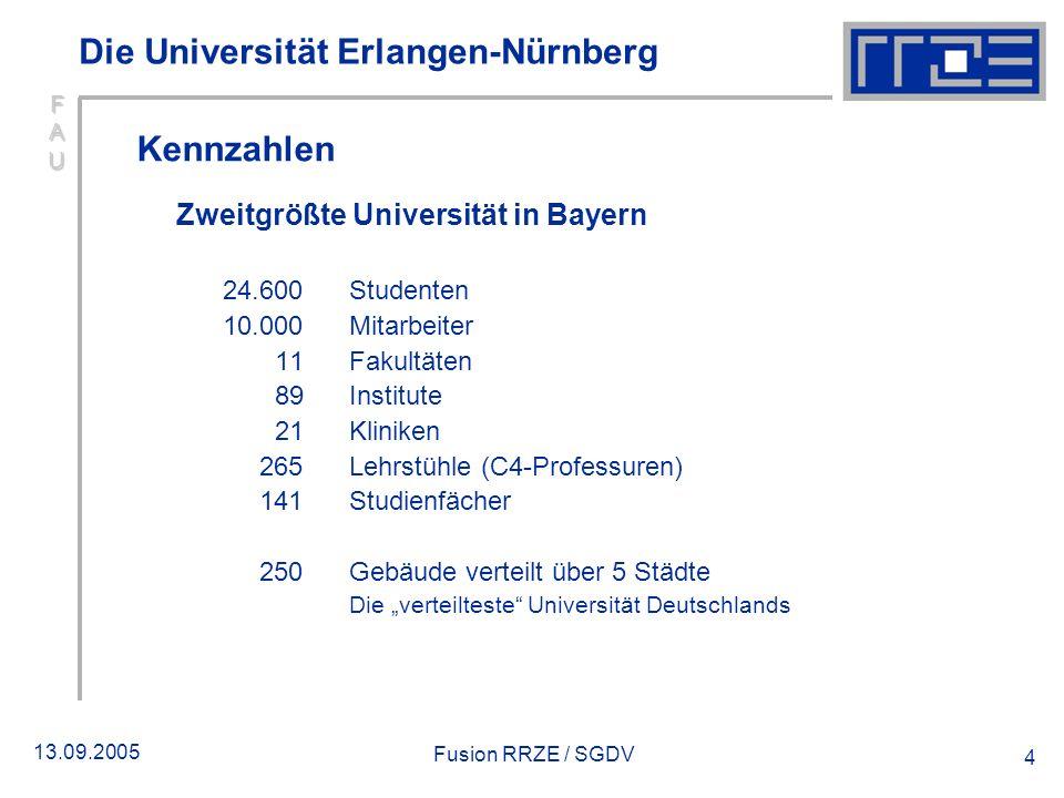 13.09.2005 Fusion RRZE / SGDV 4 Die Universität Erlangen-Nürnberg Kennzahlen Zweitgrößte Universität in Bayern 24.600 Studenten 10.000 Mitarbeiter 11