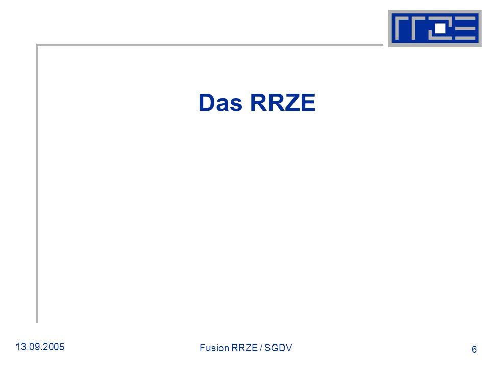 13.09.2005 Fusion RRZE / SGDV 6 Das RRZE