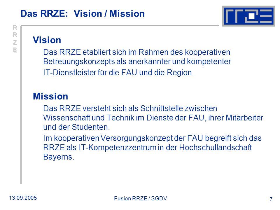 13.09.2005 Fusion RRZE / SGDV 7 Das RRZE: Vision / Mission Vision Das RRZE etabliert sich im Rahmen des kooperativen Betreuungskonzepts als anerkannte