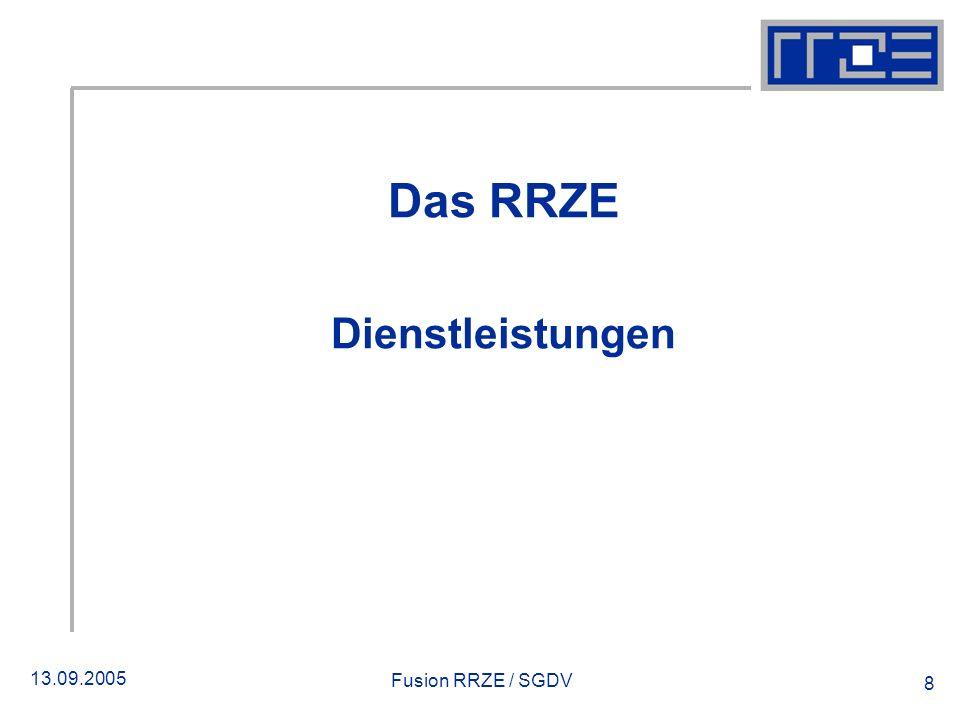 13.09.2005 Fusion RRZE / SGDV 8 Das RRZE Dienstleistungen