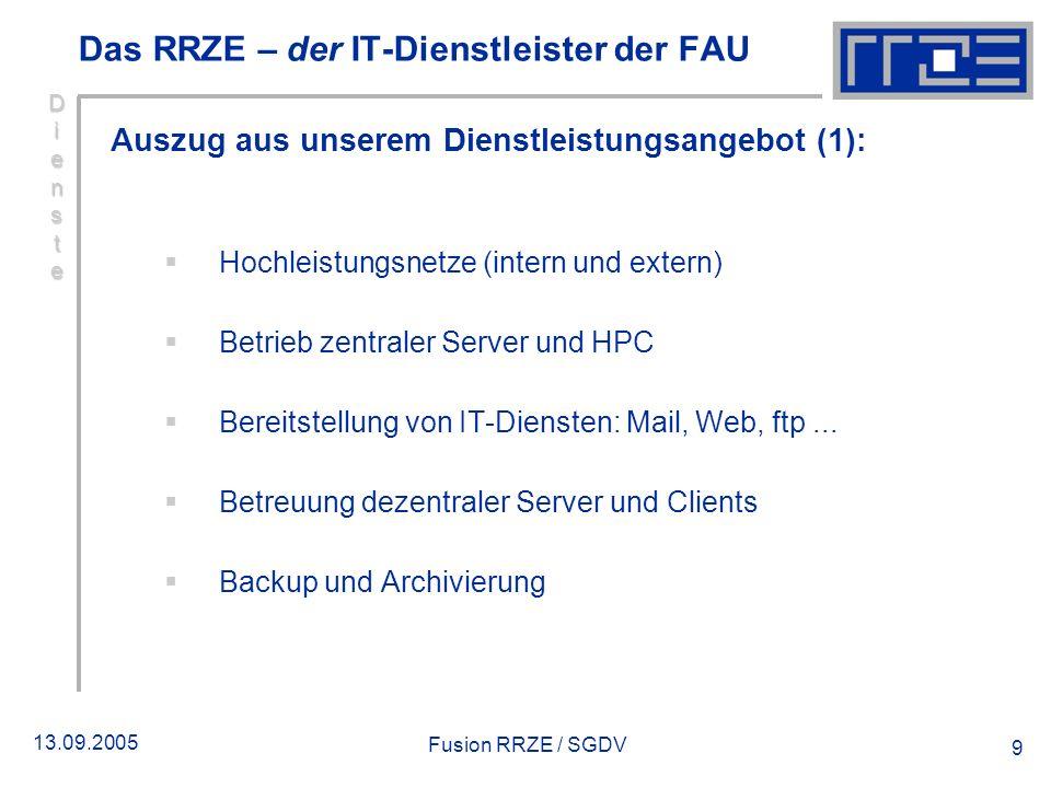 13.09.2005 Fusion RRZE / SGDV 9 Das RRZE – der IT-Dienstleister der FAU Auszug aus unserem Dienstleistungsangebot (1): Hochleistungsnetze (intern und