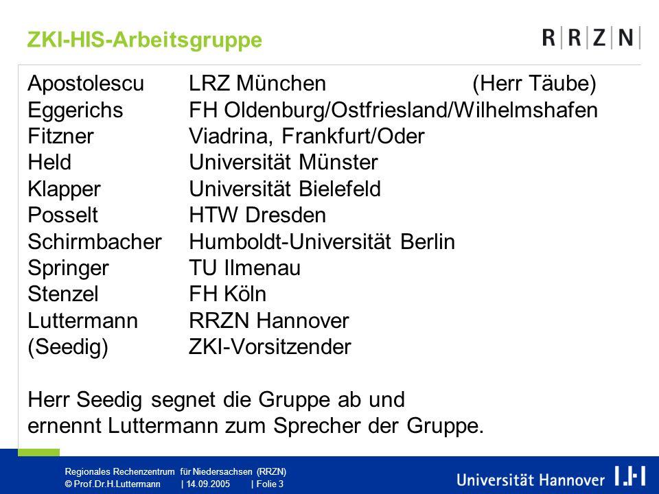 Regionales Rechenzentrum für Niedersachsen (RRZN) © Prof.Dr.H.Luttermann   14.09.2005   Folie 4 Sitzungs-Teilnahme24.11.18.01.26.04.schriftl.