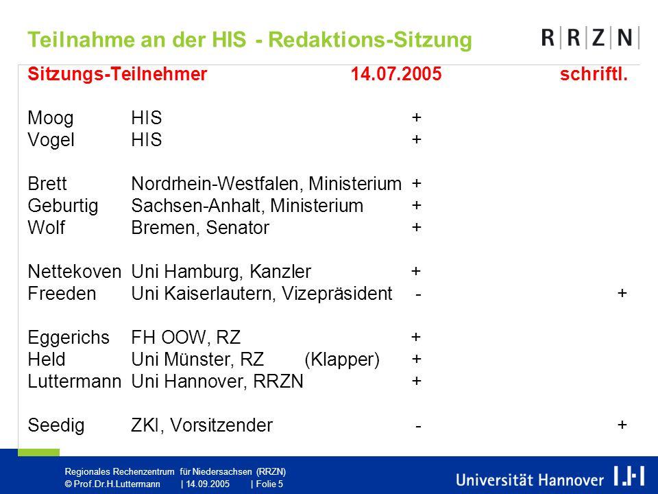 Regionales Rechenzentrum für Niedersachsen (RRZN) © Prof.Dr.H.Luttermann | 14.09.2005 | Folie 5 Sitzungs-Teilnehmer14.07.2005schriftl.