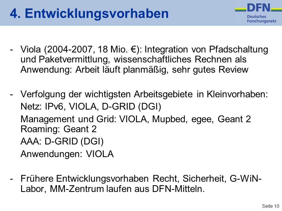 Seite 10 4. Entwicklungsvorhaben -Viola (2004-2007, 18 Mio.