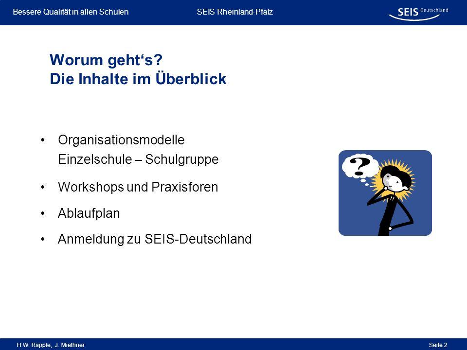 Bessere Qualität in allen Schulen Bessere Qualität in allen Schulen SEIS Rheinland-Pfalz H.W. Räpple, J. Miethner Seite 2 Organisationsmodelle Einzels