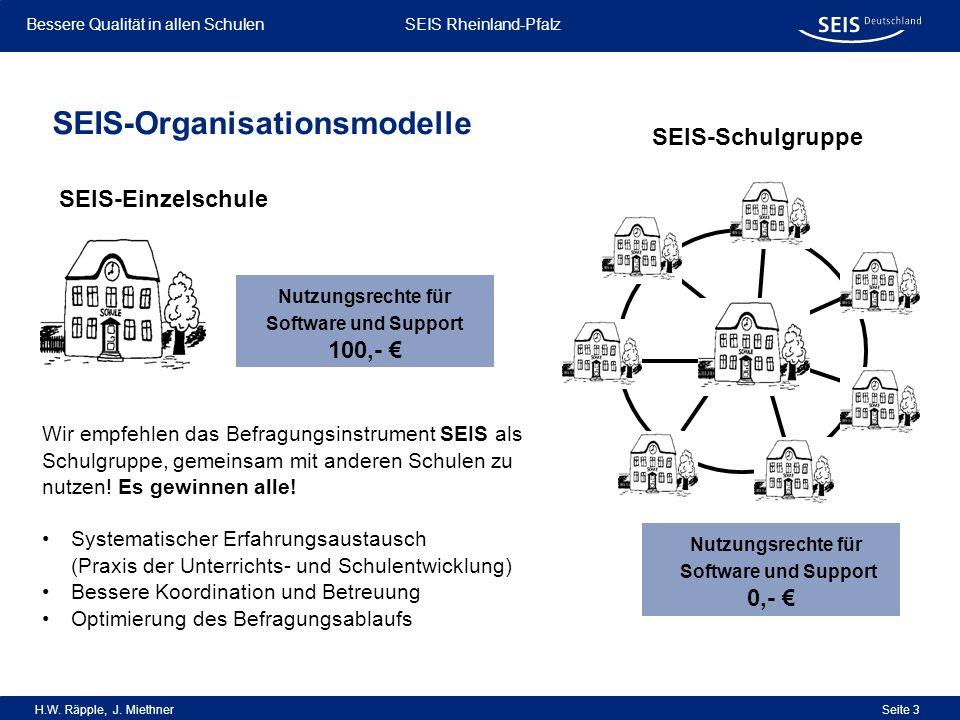 Bessere Qualität in allen Schulen Bessere Qualität in allen Schulen SEIS Rheinland-Pfalz H.W. Räpple, J. Miethner Seite 3 SEIS-Organisationsmodelle SE