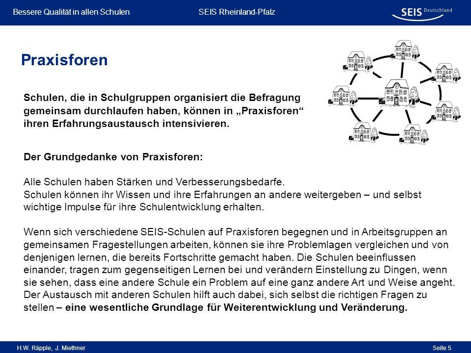 Bessere Qualität in allen Schulen Bessere Qualität in allen Schulen SEIS Rheinland-Pfalz H.W. Räpple, J. Miethner Seite 5 Praxisforen Schulen, die in