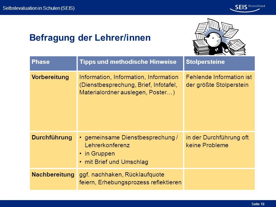 Selbstevaluation in Schulen (SEIS) Seite 18 Befragung der Lehrer/innen PhaseTipps und methodische HinweiseStolpersteine VorbereitungInformation, Infor