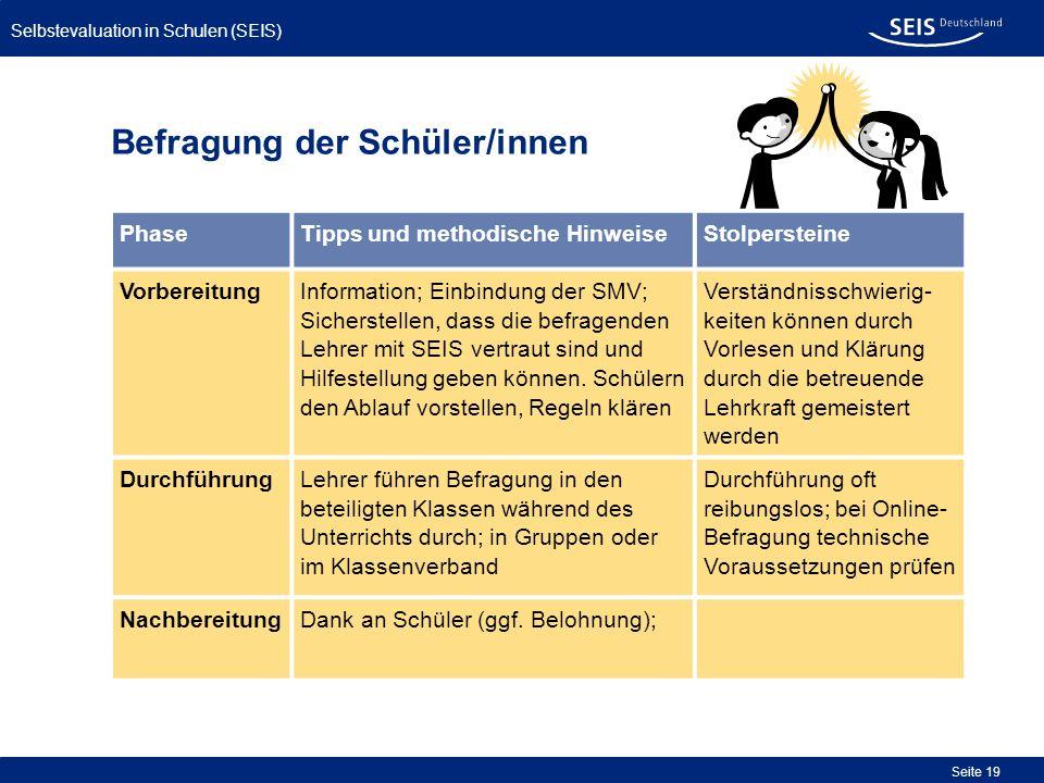 Selbstevaluation in Schulen (SEIS) Seite 19 Befragung der Schüler/innen PhaseTipps und methodische HinweiseStolpersteine VorbereitungInformation; Einb