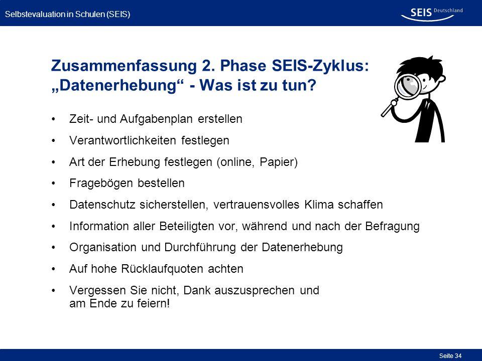Selbstevaluation in Schulen (SEIS) Seite 34 Zusammenfassung 2. Phase SEIS-Zyklus: Datenerhebung - Was ist zu tun? Zeit- und Aufgabenplan erstellen Ver