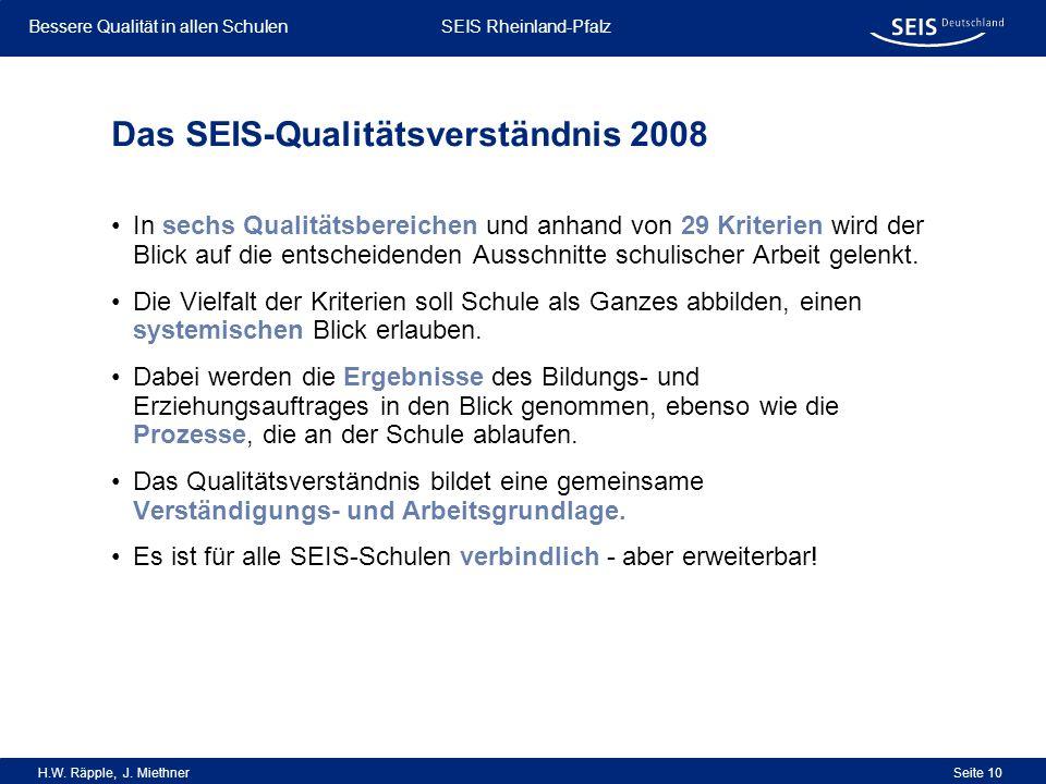 Bessere Qualität in allen Schulen Bessere Qualität in allen Schulen SEIS Rheinland-Pfalz H.W. Räpple, J. Miethner Seite 10 Das SEIS-Qualitätsverständn