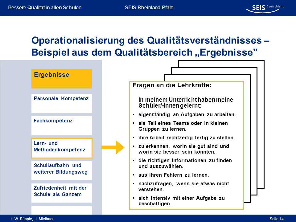 Bessere Qualität in allen Schulen Bessere Qualität in allen Schulen SEIS Rheinland-Pfalz H.W. Räpple, J. Miethner Seite 14 Operationalisierung des Qua
