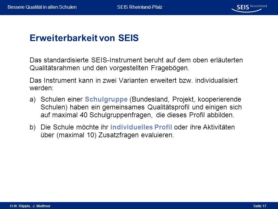 Bessere Qualität in allen Schulen Bessere Qualität in allen Schulen SEIS Rheinland-Pfalz H.W. Räpple, J. Miethner Seite 17 Erweiterbarkeit von SEIS Da