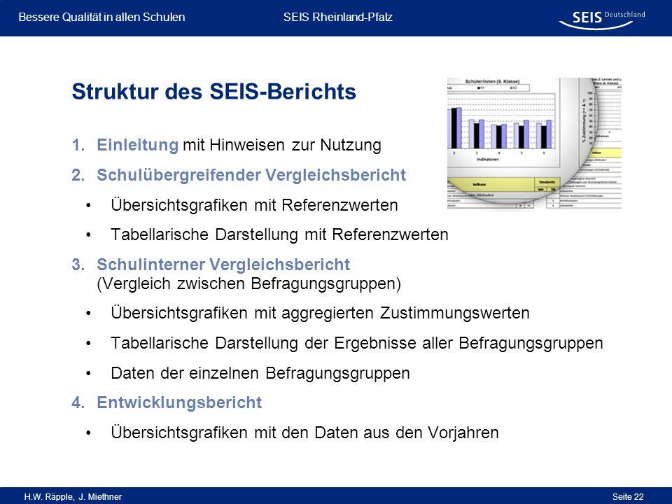 Bessere Qualität in allen Schulen Bessere Qualität in allen Schulen SEIS Rheinland-Pfalz H.W. Räpple, J. Miethner Seite 22 Struktur des SEIS-Berichts