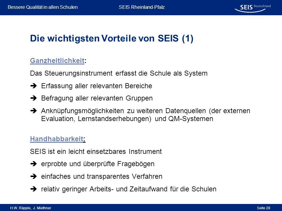 Bessere Qualität in allen Schulen Bessere Qualität in allen Schulen SEIS Rheinland-Pfalz H.W. Räpple, J. Miethner Seite 28 Die wichtigsten Vorteile vo