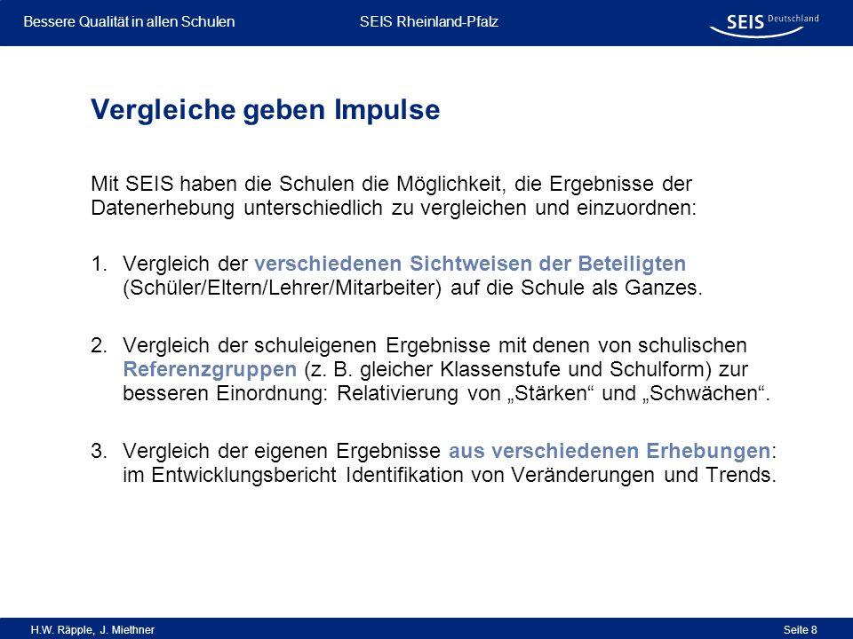 Bessere Qualität in allen Schulen Bessere Qualität in allen Schulen SEIS Rheinland-Pfalz H.W. Räpple, J. Miethner Seite 8 Vergleiche geben Impulse 1.V