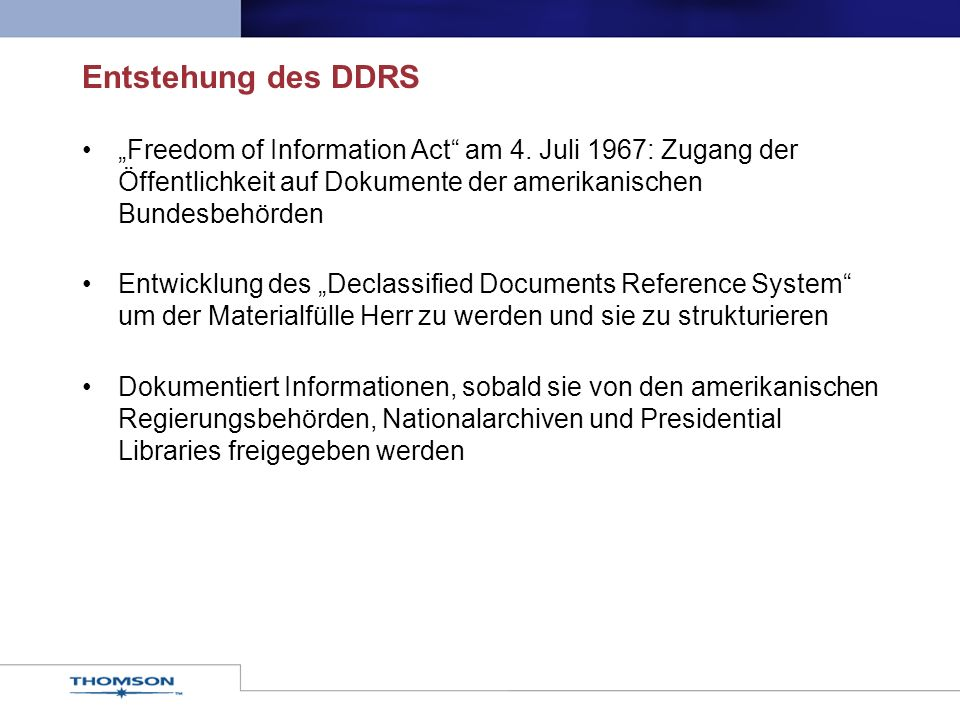 Entstehung des DDRS Freedom of Information Act am 4.
