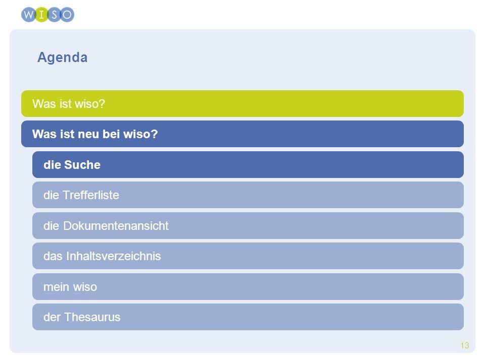 13 die Suche die Trefferliste die Dokumentenansicht der Thesaurus das Inhaltsverzeichnis mein wiso Agenda Was ist wiso? Was ist neu bei wiso?