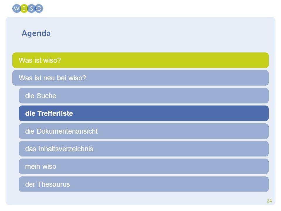 24 die Trefferliste die Suche der Thesaurus Was ist neu bei wiso? Agenda Was ist wiso? die Dokumentenansicht das Inhaltsverzeichnis mein wiso