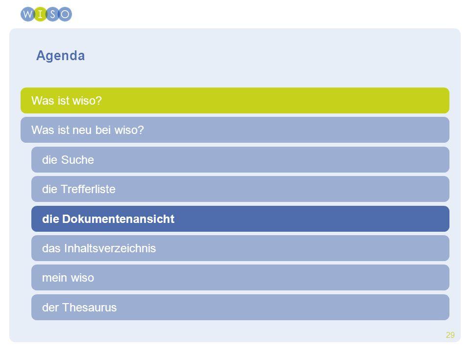 29 die Trefferliste die Suche der Thesaurus Was ist neu bei wiso? Agenda Was ist wiso? die Dokumentenansicht das Inhaltsverzeichnis mein wiso