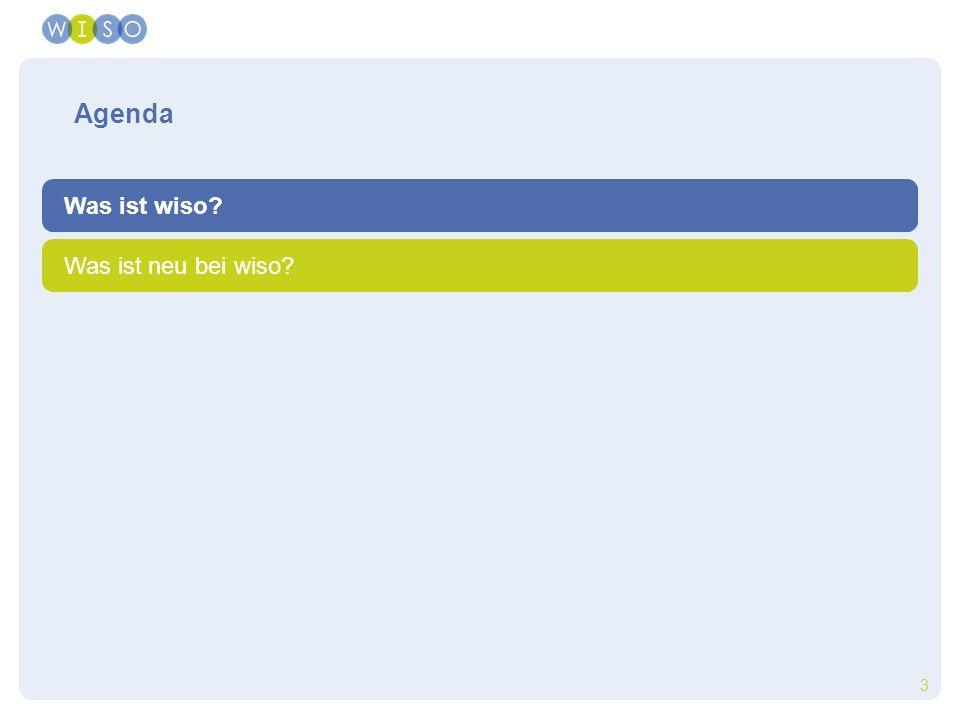 3 der Zugriff auf wisodie Inhalte von wisoWas ist wiso? Was ist neu bei wiso? Agenda