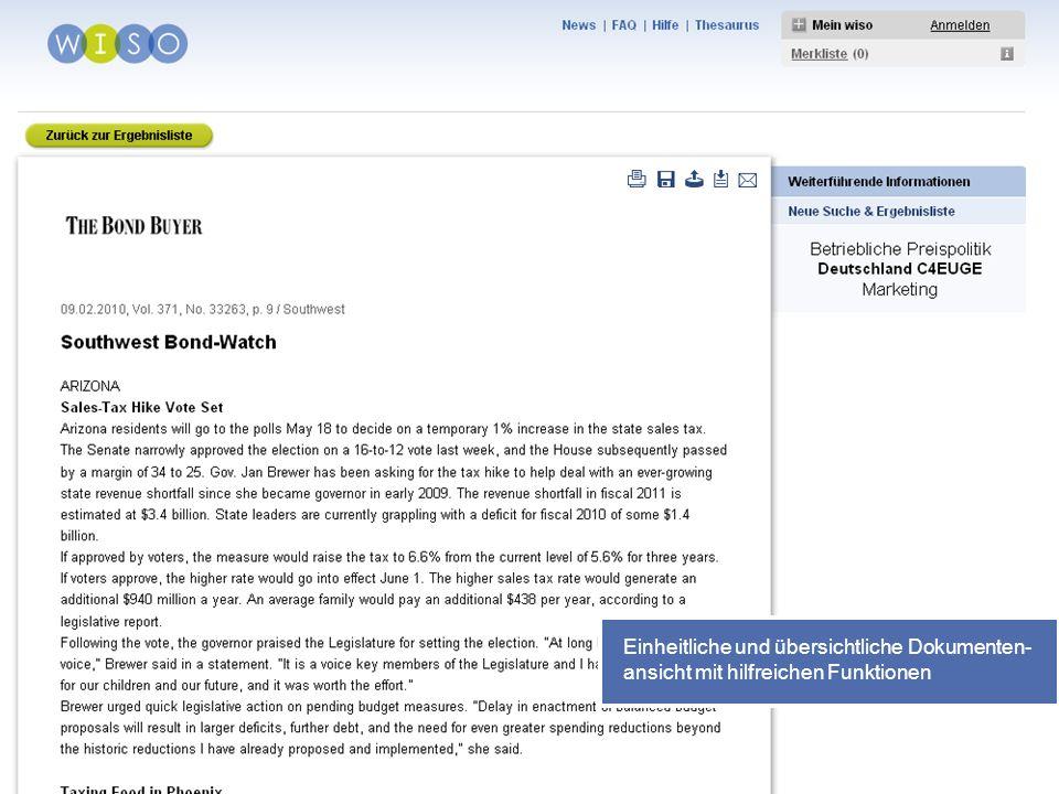 31 Einheitliche und übersichtliche Dokumenten- ansicht mit hilfreichen Funktionen