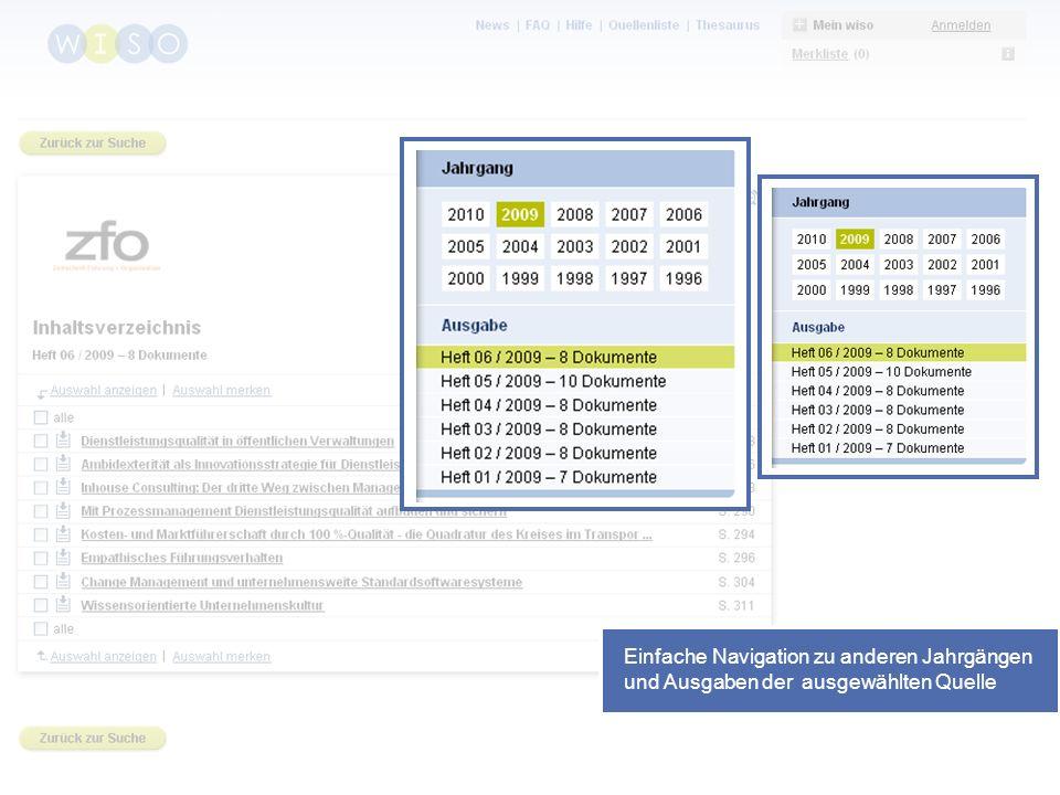 44 Einfache Navigation zu anderen Jahrgängen und Ausgaben der ausgewählten Quelle
