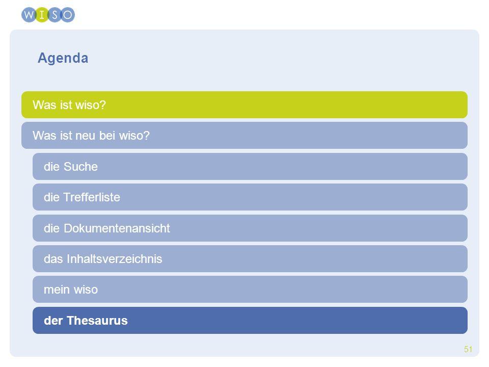 51 die Trefferliste die Suche der Thesaurus Was ist neu bei wiso? Agenda Was ist wiso? die Dokumentenansicht das Inhaltsverzeichnis mein wiso